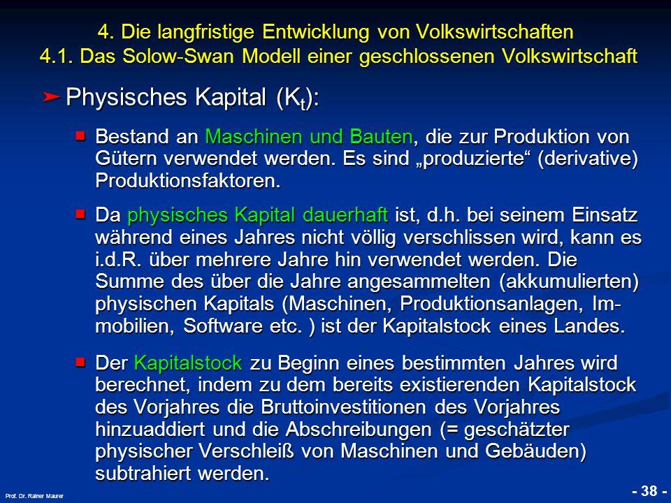© RAINER MAURER, Pforzheim - 38 - Prof. Dr. Rainer Maurer 4. Die langfristige Entwicklung von Volkswirtschaften 4.1. Das Solow-Swan Modell einer gesch