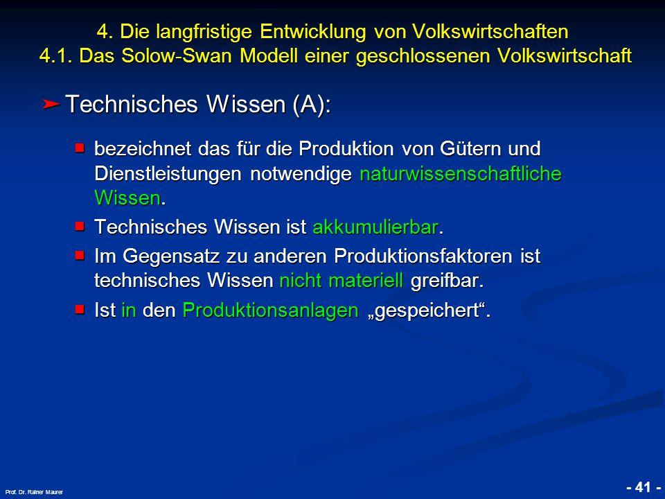 © RAINER MAURER, Pforzheim - 41 - Prof. Dr. Rainer Maurer 4. Die langfristige Entwicklung von Volkswirtschaften 4.1. Das Solow-Swan Modell einer gesch