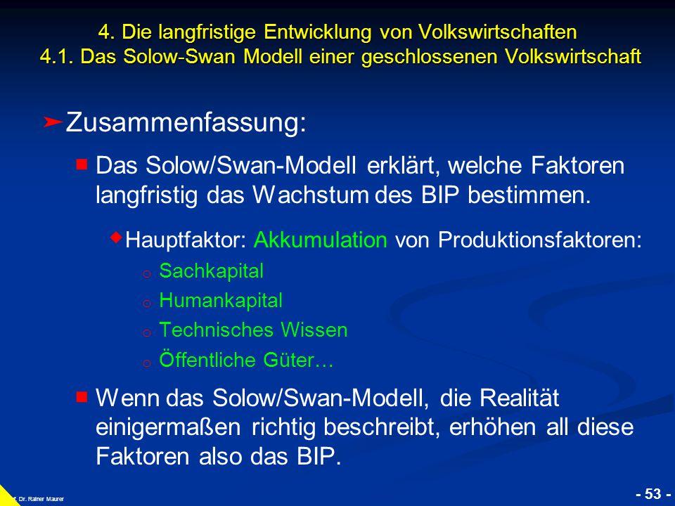 © RAINER MAURER, Pforzheim - 53 - Prof. Dr. Rainer Maurer ➤ ➤ Zusammenfassung: ■ ■ Das Solow/Swan-Modell erklärt, welche Faktoren langfristig das Wach