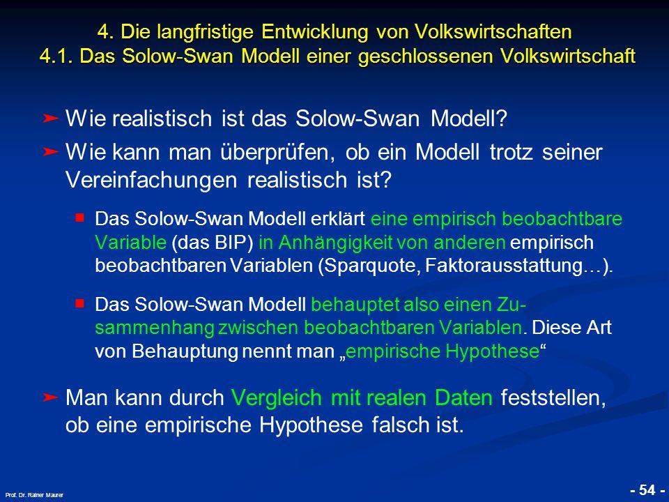 © RAINER MAURER, Pforzheim - 54 - Prof. Dr. Rainer Maurer ➤ ➤ Wie realistisch ist das Solow-Swan Modell? ➤ ➤ Wie kann man überprüfen, ob ein Modell tr
