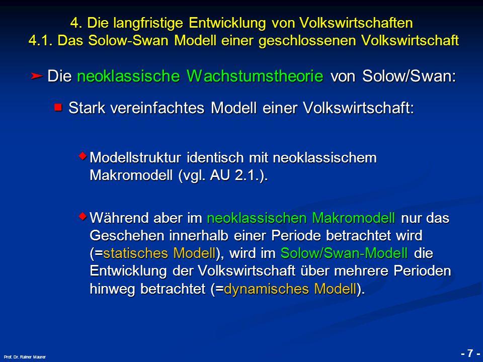 © RAINER MAURER, Pforzheim - 7 - Prof. Dr. Rainer Maurer ➤ Die neoklassische Wachstumstheorie von Solow/Swan: ■ Stark vereinfachtes Modell einer Volks