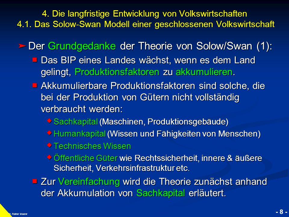 © RAINER MAURER, Pforzheim - 8 - Prof. Dr. Rainer Maurer 4. Die langfristige Entwicklung von Volkswirtschaften 4.1. Das Solow-Swan Modell einer geschl