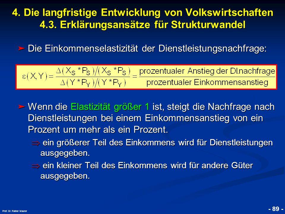 © RAINER MAURER, Pforzheim - 89 - Prof. Dr. Rainer Maurer ➤ Die Einkommenselastizität der Dienstleistungsnachfrage: ➤ Wenn die Elastizität größer 1 is