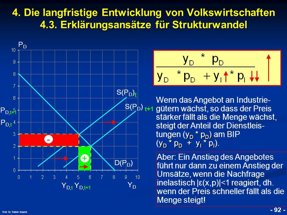 © RAINER MAURER, Pforzheim - 92 - Prof. Dr. Rainer Maurer 4. Die langfristige Entwicklung von Volkswirtschaften 4.3. Erklärungsansätze für Strukturwan