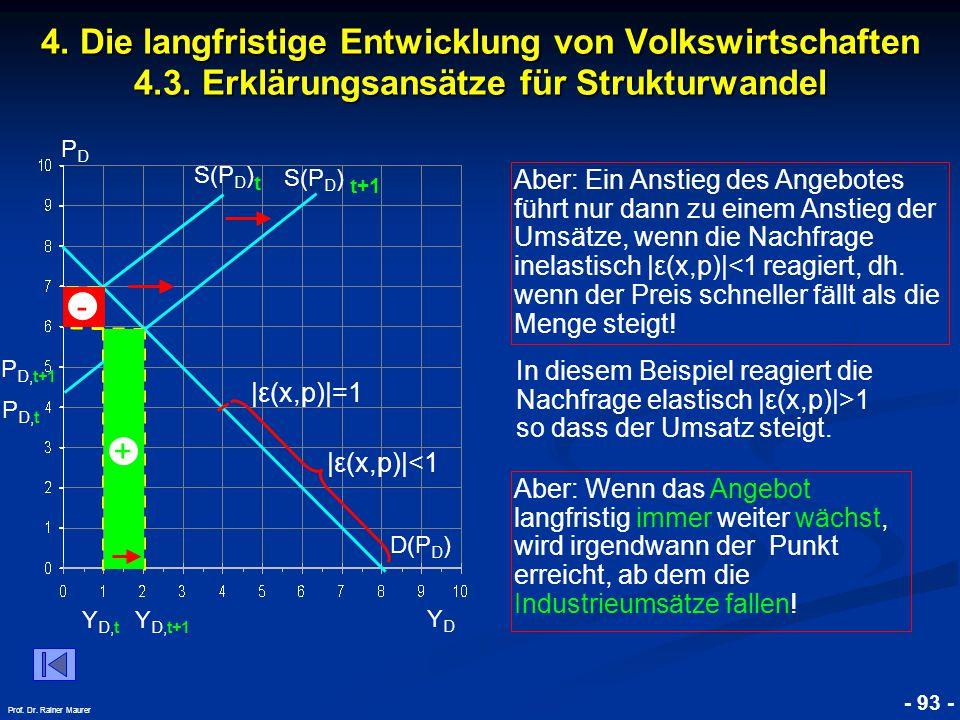 © RAINER MAURER, Pforzheim - 93 - Prof. Dr. Rainer Maurer 4. Die langfristige Entwicklung von Volkswirtschaften 4.3. Erklärungsansätze für Strukturwan