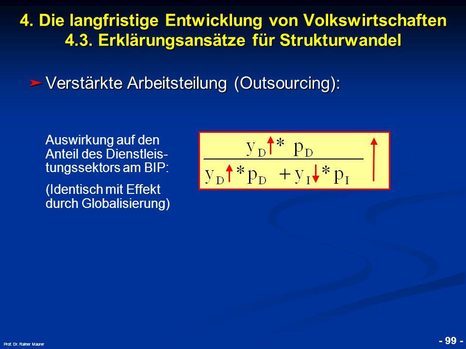 © RAINER MAURER, Pforzheim - 99 - Prof. Dr. Rainer Maurer ➤ Verstärkte Arbeitsteilung (Outsourcing): 4. Die langfristige Entwicklung von Volkswirtscha