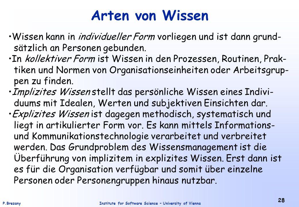 Institute for Software Science – University of ViennaP.Brezany 28 Arten von Wissen Wissen kann in individueller Form vorliegen und ist dann grund- sätzlich an Personen gebunden.