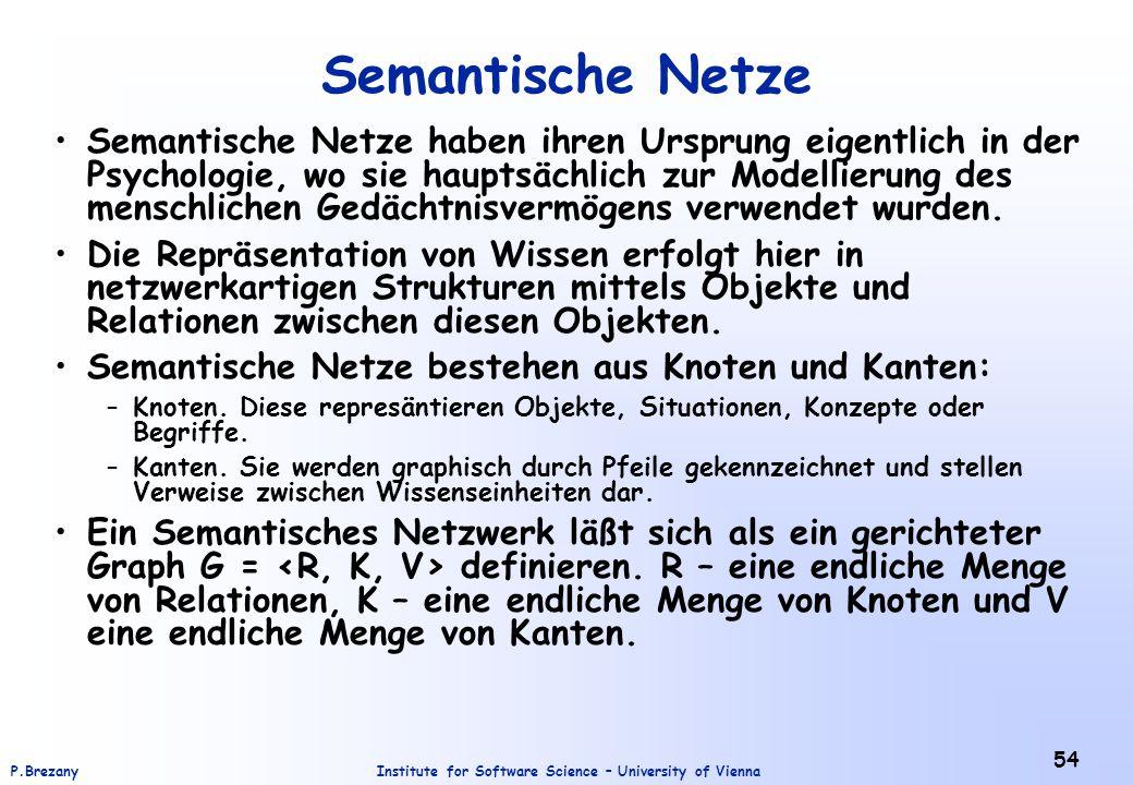 Institute for Software Science – University of ViennaP.Brezany 54 Semantische Netze Semantische Netze haben ihren Ursprung eigentlich in der Psychologie, wo sie hauptsächlich zur Modellierung des menschlichen Gedächtnisvermögens verwendet wurden.