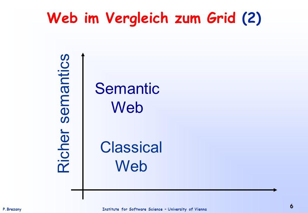 Institute for Software Science – University of ViennaP.Brezany 6 Web im Vergleich zum Grid (2) Classical Web Semantic Web Richer semantics