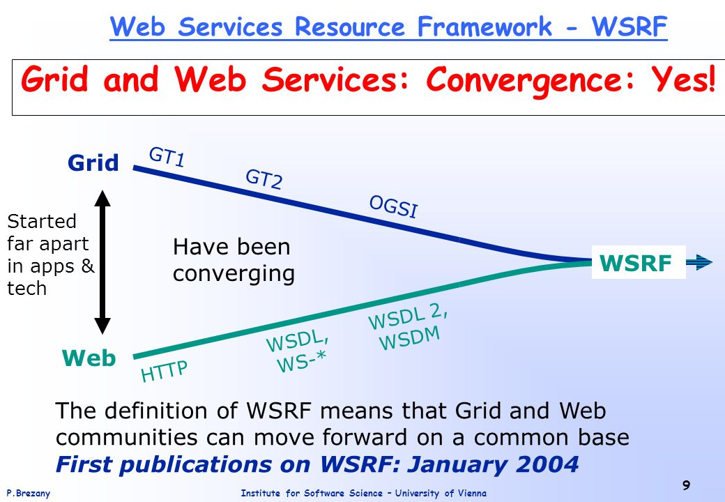 Institute for Software Science – University of ViennaP.Brezany 9 Grid and Web Services: Convergence: Yes.