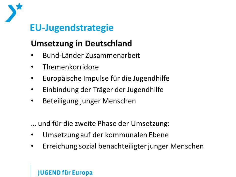 Umsetzung in Deutschland Bund-Länder Zusammenarbeit Themenkorridore Europäische Impulse für die Jugendhilfe Einbindung der Träger der Jugendhilfe Beteiligung junger Menschen … und für die zweite Phase der Umsetzung: Umsetzung auf der kommunalen Ebene Erreichung sozial benachteiligter junger Menschen