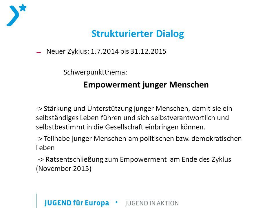 Strukturierter Dialog ₋ Neuer Zyklus: 1.7.2014 bis 31.12.2015 Schwerpunktthema: Empowerment junger Menschen -> Stärkung und Unterstützung junger Menschen, damit sie ein selbständiges Leben führen und sich selbstverantwortlich und selbstbestimmt in die Gesellschaft einbringen können.