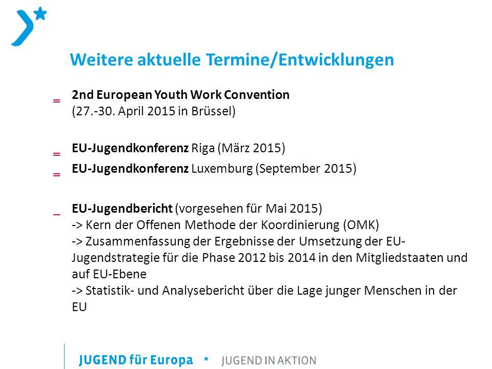 Weitere aktuelle Termine/Entwicklungen ‗2nd European Youth Work Convention (27.-30.