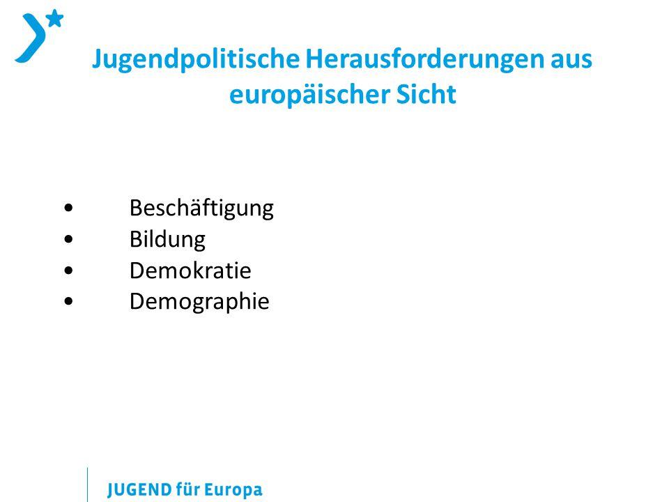 Beschäftigung Bildung Demokratie Demographie Jugendpolitische Herausforderungen aus europäischer Sicht