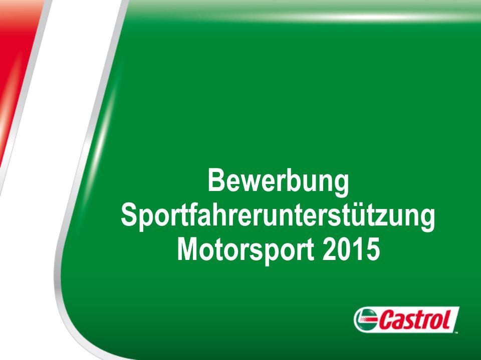 Bewerbung Sportfahrerunterstützung Motorsport 2015