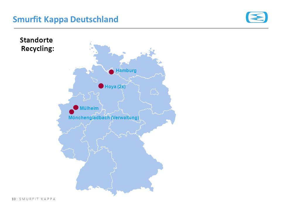 10 : SMURFIT KAPPA Standorte Recycling: Smurfit Kappa Deutschland Hamburg Mönchengladbach (Verwaltung) Mülheim Hoya (2x)
