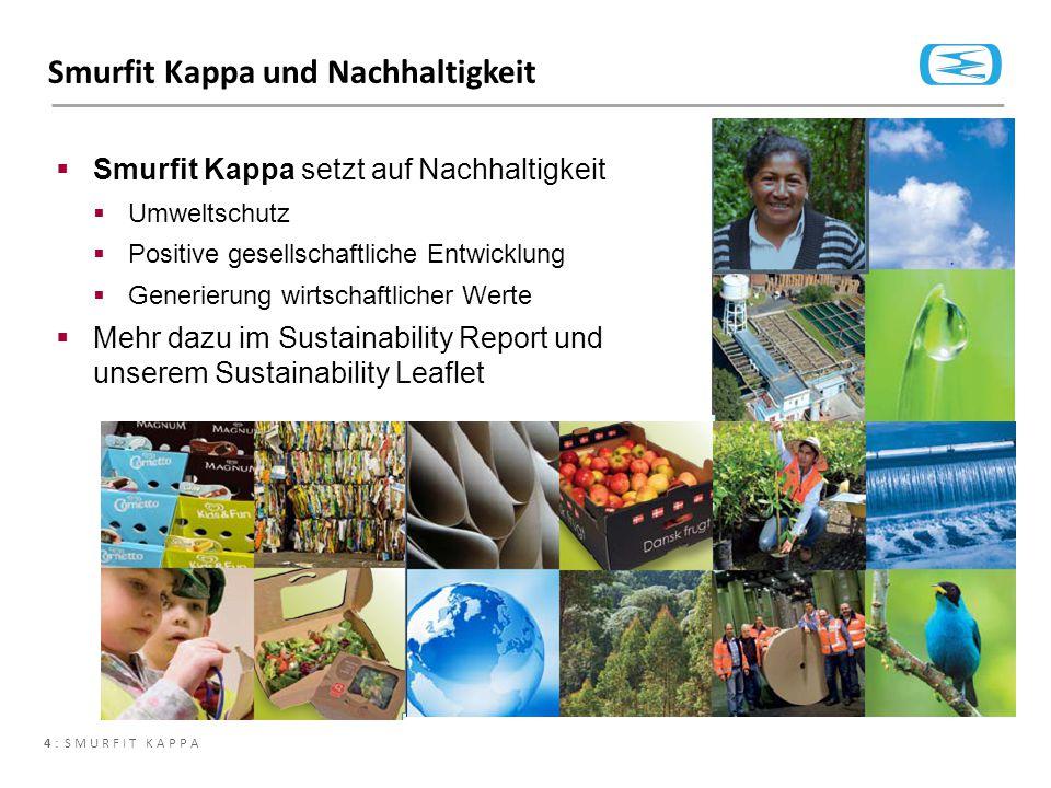 4 : SMURFIT KAPPA Smurfit Kappa und Nachhaltigkeit  Smurfit Kappa setzt auf Nachhaltigkeit  Umweltschutz  Positive gesellschaftliche Entwicklung 