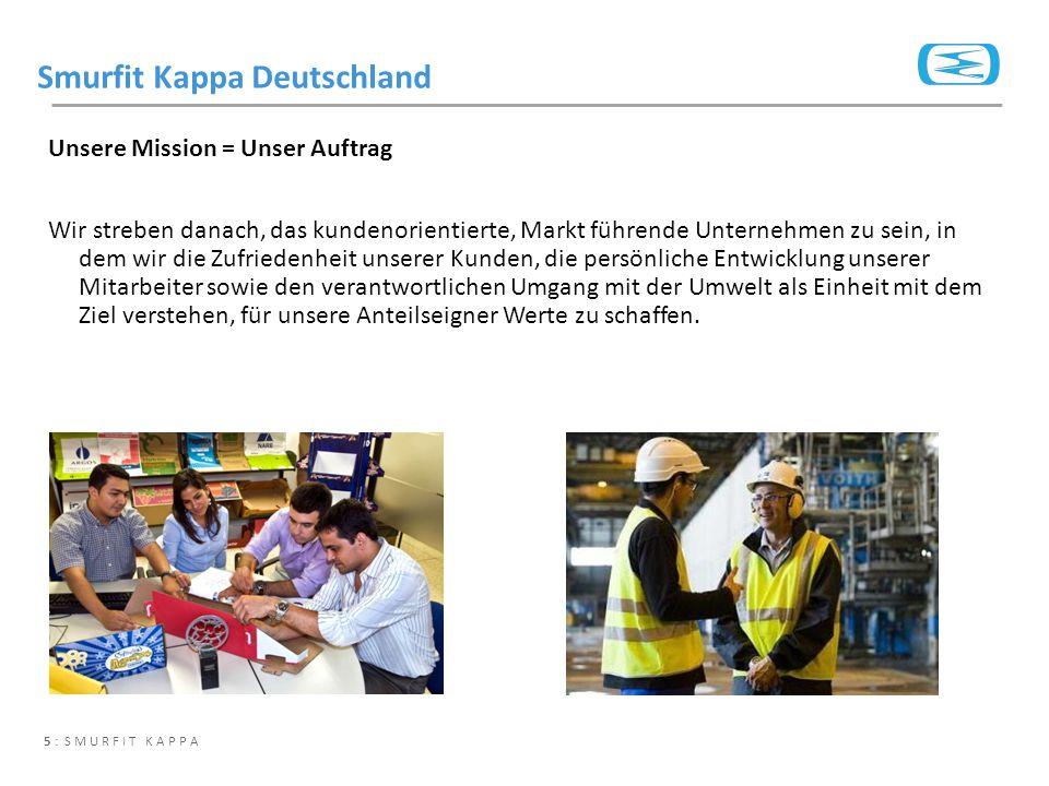 5 : SMURFIT KAPPA Unsere Mission = Unser Auftrag Wir streben danach, das kundenorientierte, Markt führende Unternehmen zu sein, in dem wir die Zufried