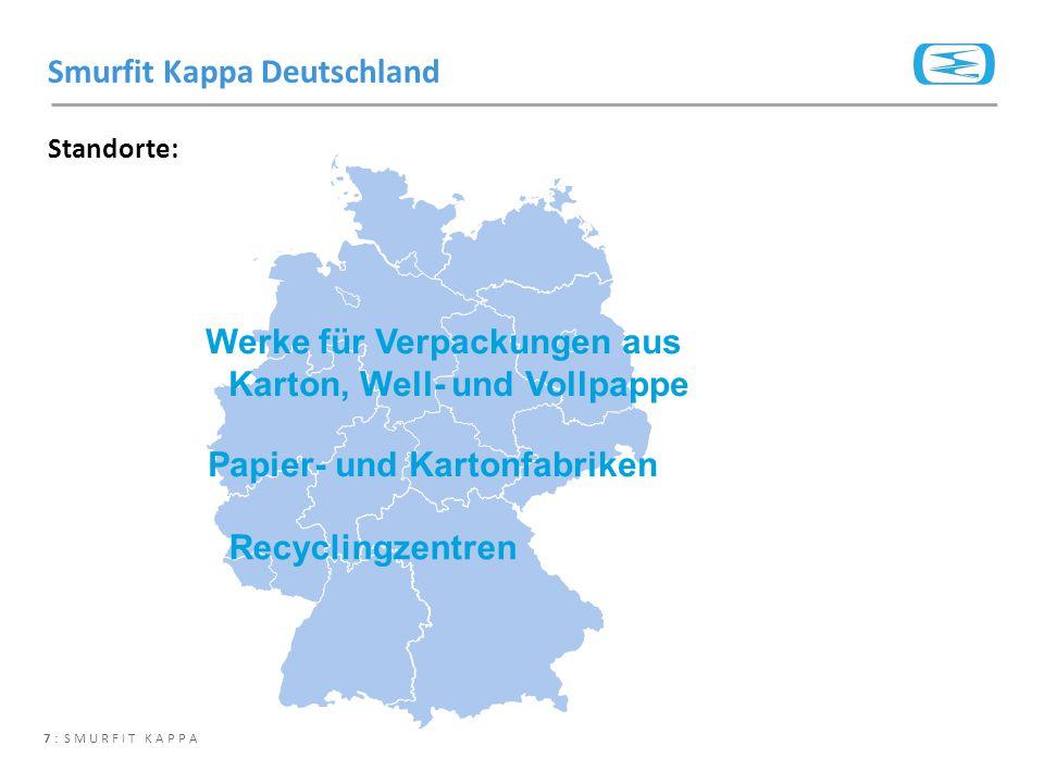 7 : SMURFIT KAPPA Standorte: Smurfit Kappa Deutschland Werke für Verpackungen aus Karton, Well- und Vollpappe Papier- und Kartonfabriken Recyclingzent