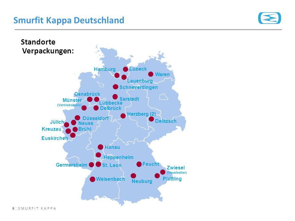 8 : SMURFIT KAPPA Standorte Verpackungen: Smurfit Kappa Deutschland Lübeck Waren Hamburg Lauenburg Schneverdingen Osnabrück Lübbecke Delbrück Sarstedt
