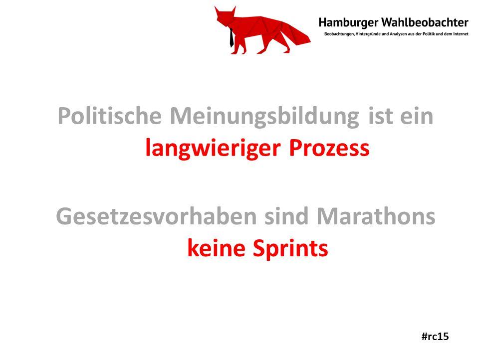Politische Meinungsbildung ist ein langwieriger Prozess Gesetzesvorhaben sind Marathons keine Sprints #rc15