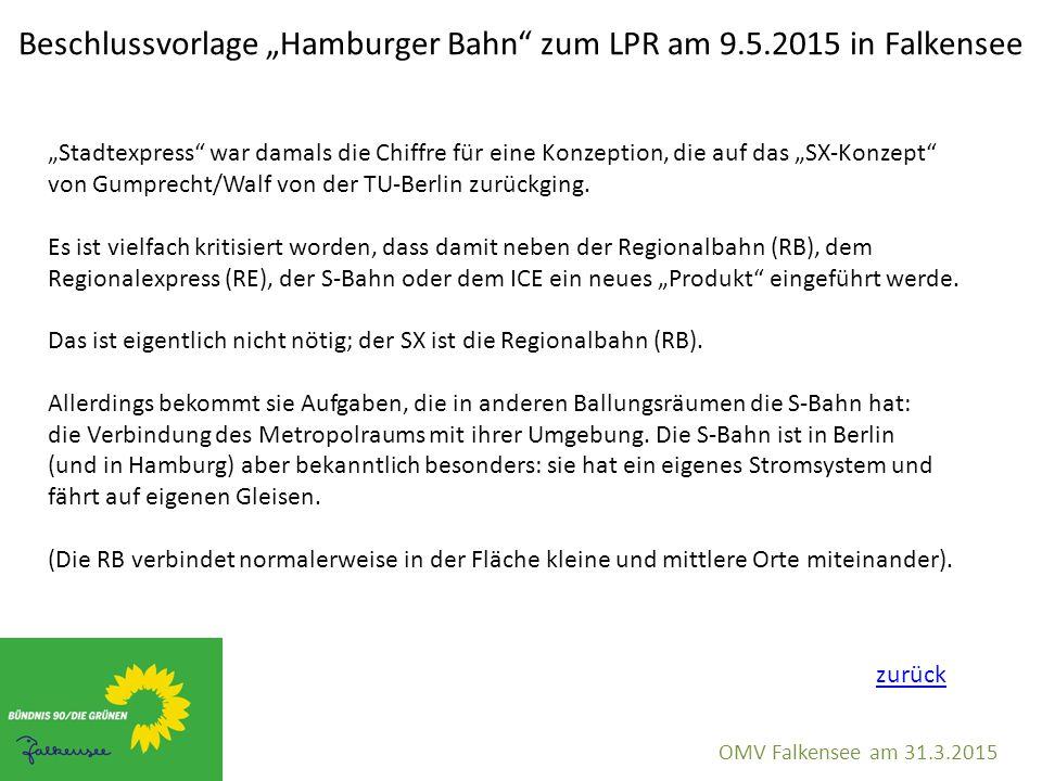 """Beschlussvorlage """"Hamburger Bahn"""" zum LPR am 9.5.2015 in Falkensee OMV Falkensee am 31.3.2015 """"Stadtexpress"""" war damals die Chiffre für eine Konzeptio"""