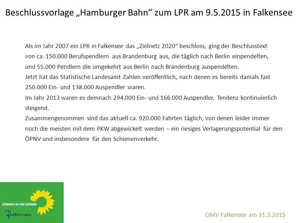 """Beschlussvorlage """"Hamburger Bahn"""" zum LPR am 9.5.2015 in Falkensee OMV Falkensee am 31.3.2015 Als im Jahr 2007 ein LPR in Falkensee das """"Zielnetz 2020"""