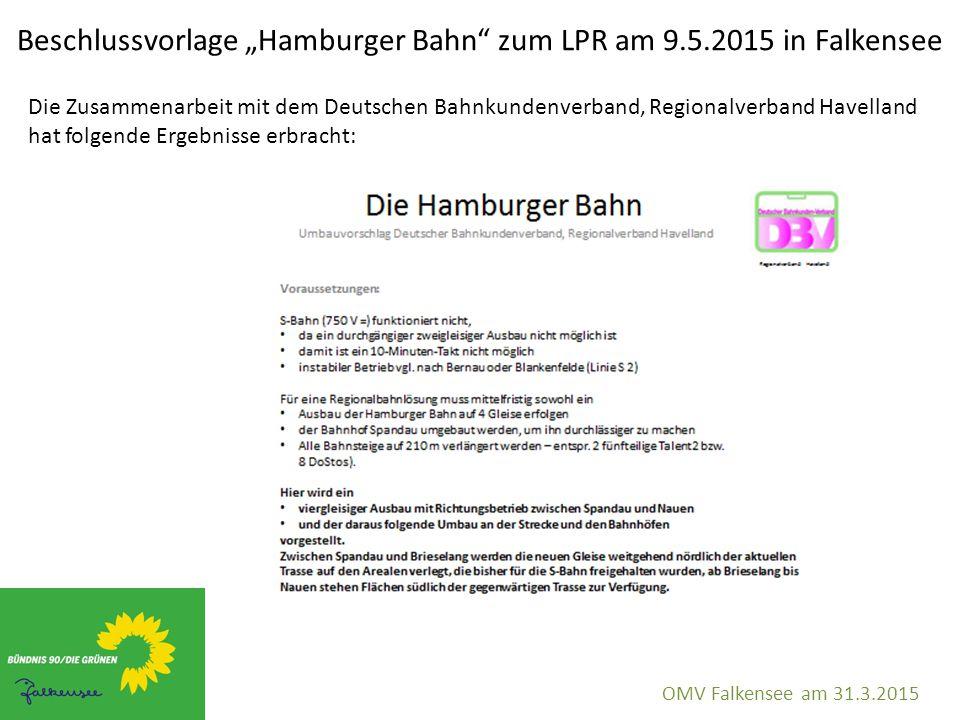 """Beschlussvorlage """"Hamburger Bahn"""" zum LPR am 9.5.2015 in Falkensee OMV Falkensee am 31.3.2015 Die Zusammenarbeit mit dem Deutschen Bahnkundenverband,"""