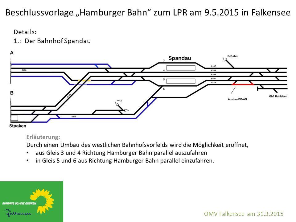 """Beschlussvorlage """"Hamburger Bahn"""" zum LPR am 9.5.2015 in Falkensee OMV Falkensee am 31.3.2015 Details: 1.: Der Bahnhof Spandau"""
