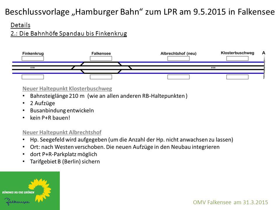 """Beschlussvorlage """"Hamburger Bahn"""" zum LPR am 9.5.2015 in Falkensee OMV Falkensee am 31.3.2015 Details 2.: Die Bahnhöfe Spandau bis Finkenkrug"""