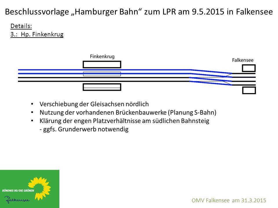 """Beschlussvorlage """"Hamburger Bahn"""" zum LPR am 9.5.2015 in Falkensee OMV Falkensee am 31.3.2015 Details: 3.: Hp. Finkenkrug"""
