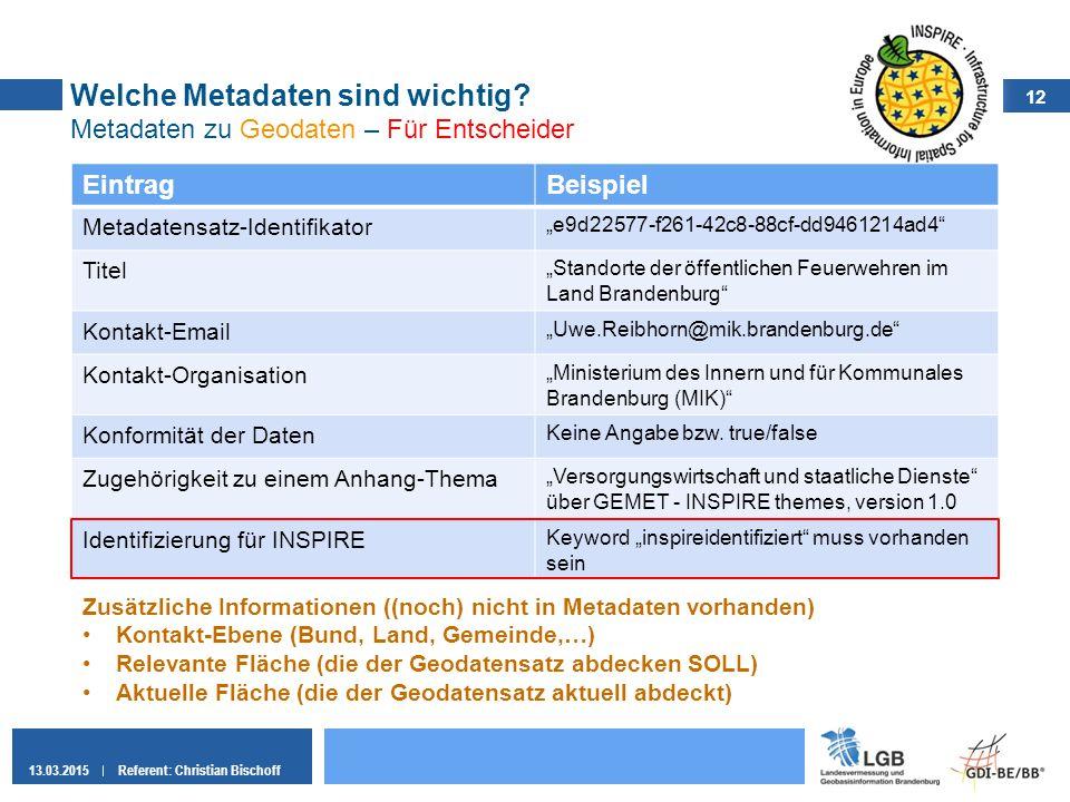 12 13.03.2015Referent: Christian Bischoff Welche Metadaten sind wichtig? Metadaten zu Geodaten – Für Entscheider EintragBeispiel Metadatensatz-Identif
