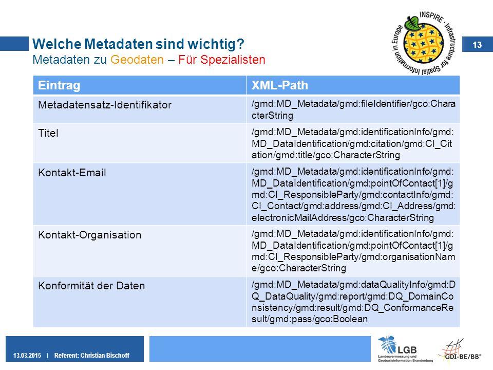 13 13.03.2015Referent: Christian Bischoff Welche Metadaten sind wichtig? Metadaten zu Geodaten – Für Spezialisten EintragXML-Path Metadatensatz-Identi