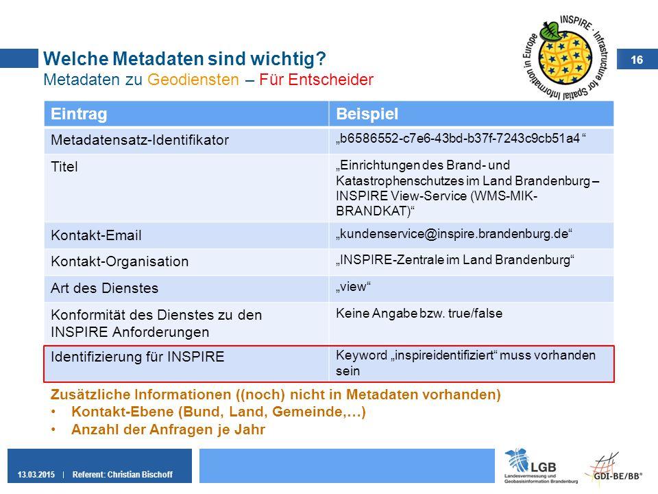 16 13.03.2015Referent: Christian Bischoff Welche Metadaten sind wichtig? Metadaten zu Geodiensten – Für Entscheider EintragBeispiel Metadatensatz-Iden
