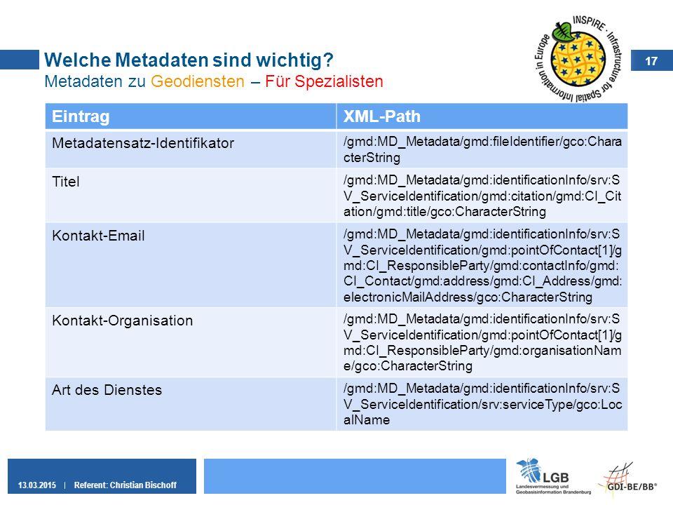 17 13.03.2015Referent: Christian Bischoff Welche Metadaten sind wichtig? Metadaten zu Geodiensten – Für Spezialisten EintragXML-Path Metadatensatz-Ide