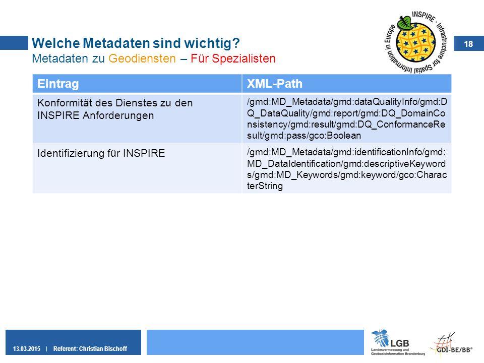 18 13.03.2015Referent: Christian Bischoff Welche Metadaten sind wichtig? Metadaten zu Geodiensten – Für Spezialisten EintragXML-Path Konformität des D