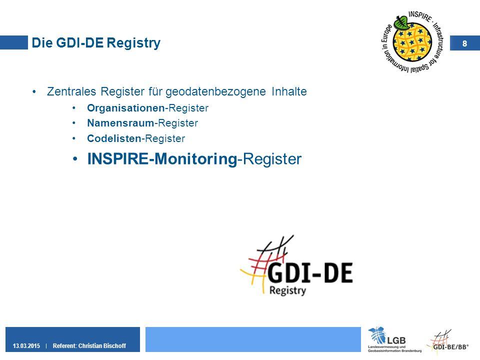 8 13.03.2015Referent: Christian Bischoff Die GDI-DE Registry Zentrales Register für geodatenbezogene Inhalte Organisationen-Register Namensraum-Regist