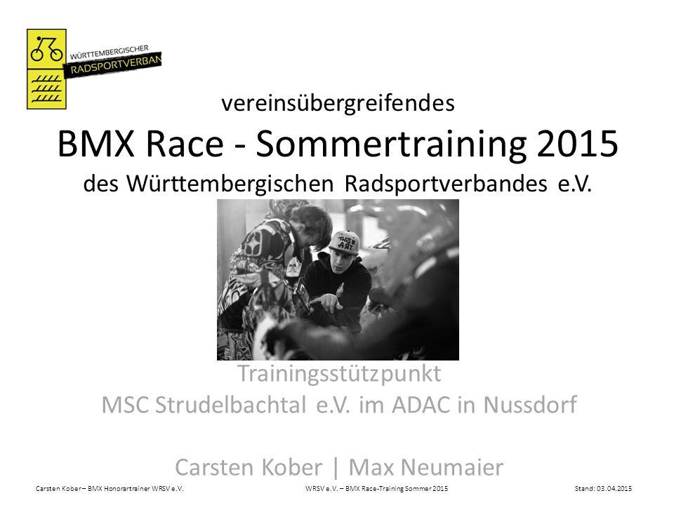 Carsten Kober – BMX Honorartrainer WRSV e.V. WRSV e.V. – BMX Race-Training Sommer 2015Stand: 03.04.2015 vereinsübergreifendes BMX Race-Sommertraining
