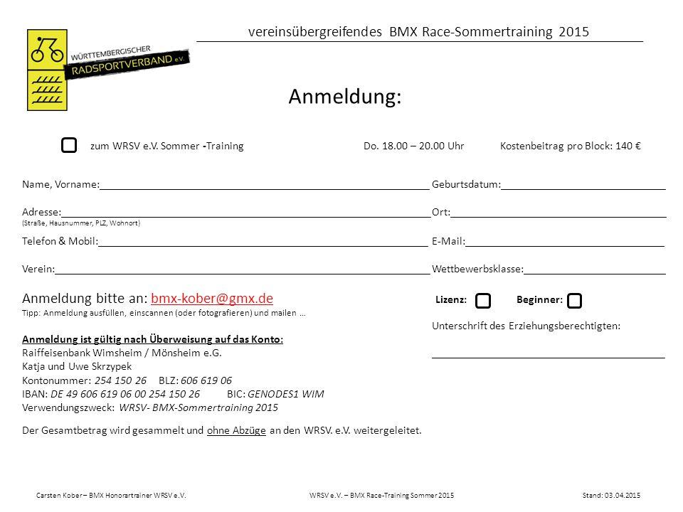 Carsten Kober – BMX Honorartrainer WRSV e.V.WRSV e.V.