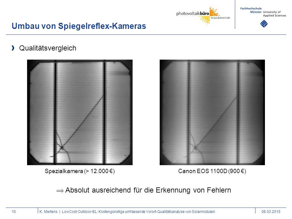 Umbau von Spiegelreflex-Kameras 10K. Mertens | LowCost-Outdoor-EL: Kostengünstige umfassende Vorort-Qualitätsanalyse von Solarmodulen06.03.2015 Qualit