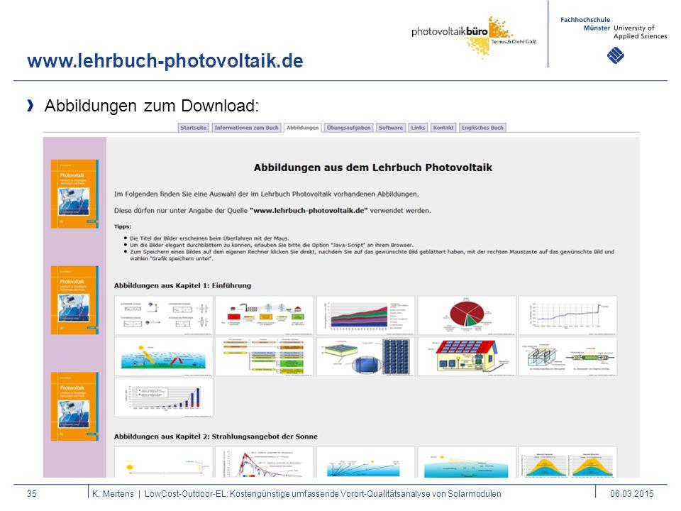 www.lehrbuch-photovoltaik.de 35K. Mertens | LowCost-Outdoor-EL: Kostengünstige umfassende Vorort-Qualitätsanalyse von Solarmodulen06.03.2015 Abbildung