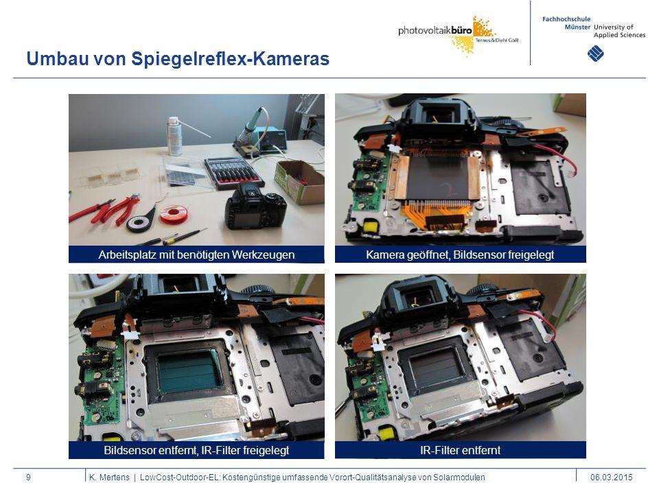 Umbau von Spiegelreflex-Kameras 9K. Mertens | LowCost-Outdoor-EL: Kostengünstige umfassende Vorort-Qualitätsanalyse von Solarmodulen06.03.2015 Kamera