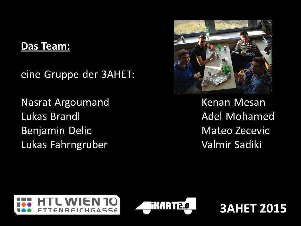 3AHET 2015 Das Team: eine Gruppe der 3AHET: Nasrat ArgoumandKenan Mesan Lukas BrandlAdel Mohamed Benjamin DelicMateo Zecevic Lukas FahrngruberValmir S