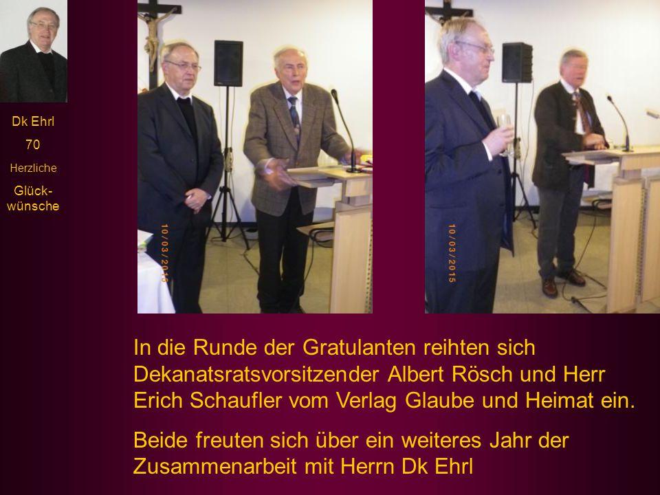 """Dk Ehrl 70 Herzliche Glück- wünsche Herr Oberbürgermeister Matthias Thürauf begann seine Gratulationsrede mit den launigen Worten: """"Hätte es Pfarrer E"""