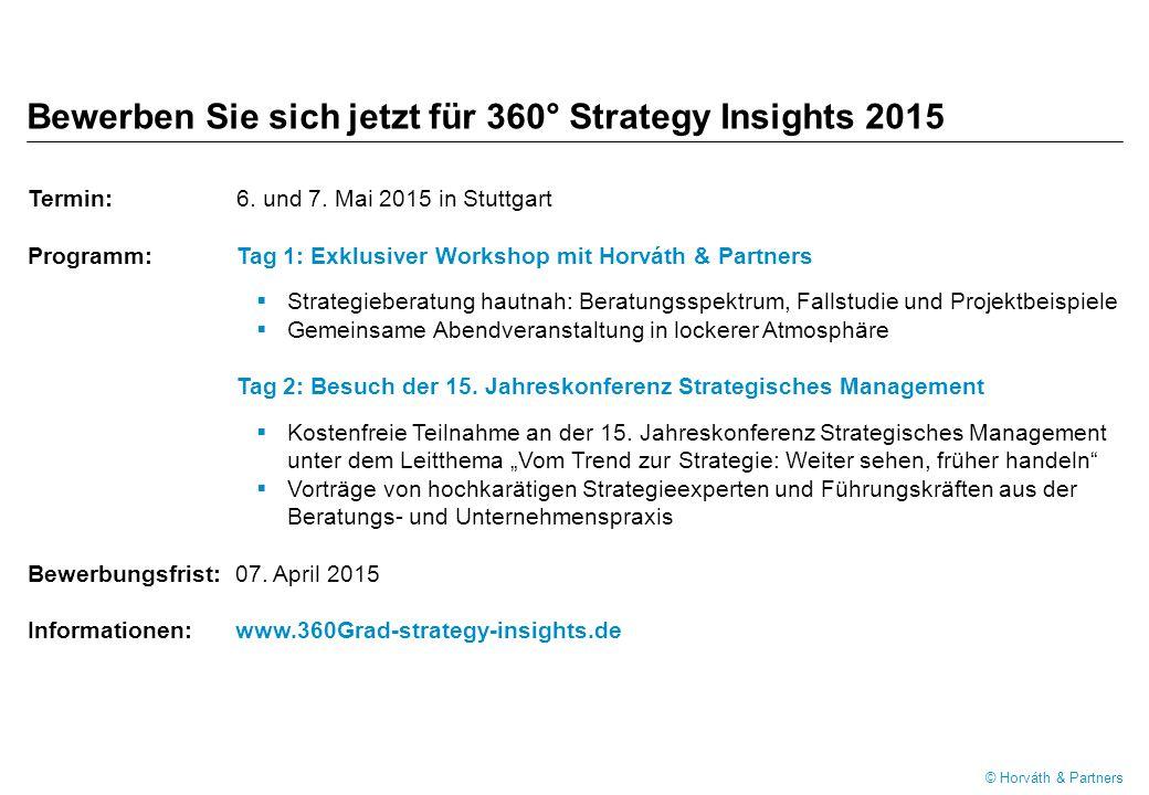 Bewerben Sie sich jetzt für 360° Strategy Insights 2015 Termin: 6.