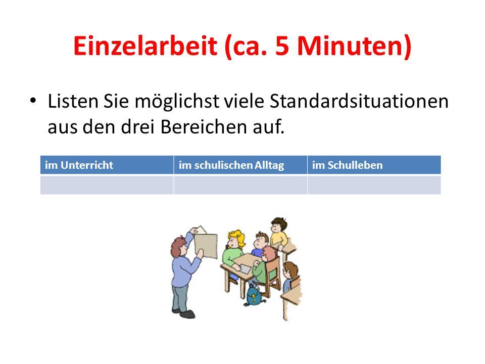 Einzelarbeit (ca. 5 Minuten) Listen Sie möglichst viele Standardsituationen aus den drei Bereichen auf. im Unterrichtim schulischen Alltagim Schullebe