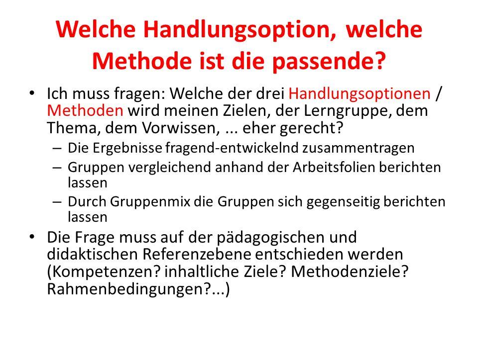 Welche Handlungsoption, welche Methode ist die passende? Ich muss fragen: Welche der drei Handlungsoptionen / Methoden wird meinen Zielen, der Lerngru