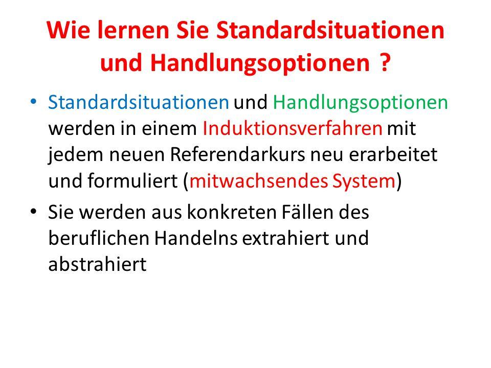 Wie lernen Sie Standardsituationen und Handlungsoptionen ? Standardsituationen und Handlungsoptionen werden in einem Induktionsverfahren mit jedem neu