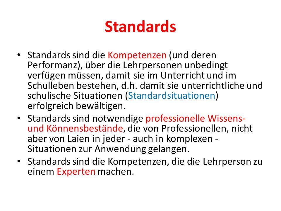 Standards Standards sind die Kompetenzen (und deren Performanz), über die Lehrpersonen unbedingt verfügen müssen, damit sie im Unterricht und im Schul