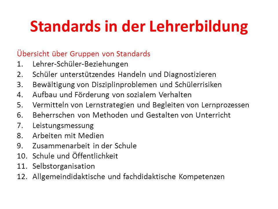 Standards in der Lehrerbildung Übersicht über Gruppen von Standards 1.Lehrer-Schüler-Beziehungen 2.Schüler unterstützendes Handeln und Diagnostizieren